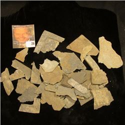 Group of field pick up or sieved slate artifacts and fragments from the Pre-Columbian era. Several e