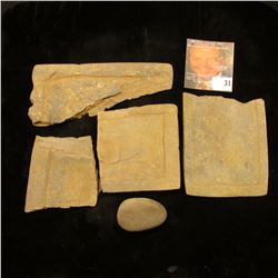 4-pcs. Incised Pre-Columbian Slate fragments and a small Mano.