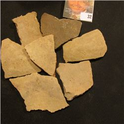 7 Pre-Columbian Native American Pottery Shards, no attempt made to reconstruct bowl or utensil.