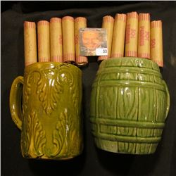 Mix-matched Pair of Stoneware Cups with olive-green glazing.  (10) Rolls of bank-wrapped Old U.S. Wh