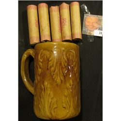 Brown-glazed Stoneware Mug with (5) Rolls of Bank-wrapped Wheat Cents. Fern or Fleur-de-lis design.