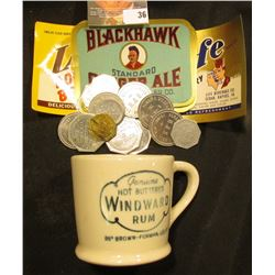 "2 1/2"" x 2 1/2"" Stoneware Advertising Mug ""Genuine Hot Buttered Windward Rum 88 Brown-Forman, Lou Ky"