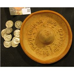 "Clay Advertising Sombrero ""Beto Playa Condesa Acapulco Gro"" embossed on upper brim; & (10) Old Mercu"