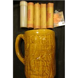 Morton Parrot design brown-glazed Stoneware Beer Mug with (5) Rolls of Bank-wrapped Wheat Cents, inc