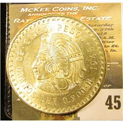 1948 Mexico Silver Cinco 5 Pesos depicting the Aztec Emperor, Cuauhtémoc ~ Ley 0.900 ~ BU ~ UNCIRCUL