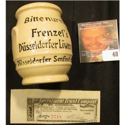 "Small Stoneware Advertising Jug Made in Germany ""Lowensenf Fullen gegr. Fabr.Marke ges.Sesch.1903"","