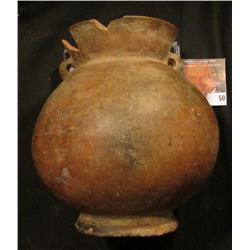 "5 3/4"" x 5 1/2"" Pottery Vessel with two small handles with holes for hanging, several ancient chips,"