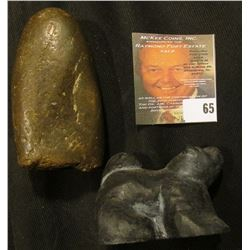 """Piece which 'Doc' called a """"Broken Indian Axe"""" and what appears to be an Eskimo Dog carved from Basa"""