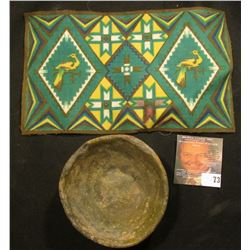 Old tobacco Flannel with Indian Motif and an excavated Indian Pot, most likely Pre-Columbian.