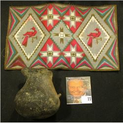 Old tobacco Flannel with Indian Motif and an excavated partially restored Indian Pitcher.