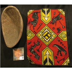 San Carlos prehistoric red on buff linear design restored elongated bowl & Old tobacco Flannel with