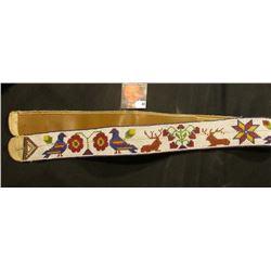 "Indian related motif Beaded Ceremonial Belt depicting Pigeons, Elk, and Floral design. Measures 2"" w"