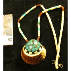 """Beaded Necklace with inlaid Clam Shell. Autographed on back by artist """"Charlotte Aqullar""""."""