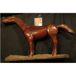 Wooden Horse with copper wire bridle and a few nicks and chips, carved in base  1945 Hand Carved By