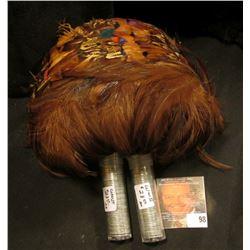 Pheasant Feather Headdress. Possibly 1920 era; & (2) Rolls of 1943 World War II Steel Cents.
