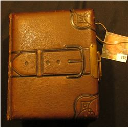Leather & Brass Buckled Photo Album, no photos present. Gold-gilt edge lettering.