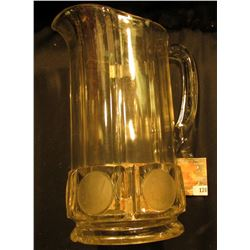 1893 Columbian Exposition Coin Glass Pitcher, base has a few minor chips. 'Doc' stated this item cat