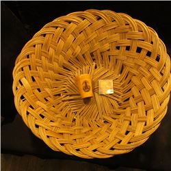 "16"" Old Wicker Basket; & a shotglass in wooden case ""Observatory, Mungy Hill, Portland, Me.""."