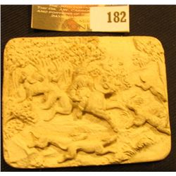 """Alabaster Style Inset measuring 2 3/8"""" x 3"""" Hunting Scene."""