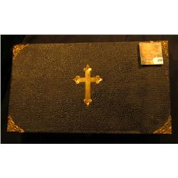 """13"""" x 7.5"""" x 3"""" Leather-bound Box with Brass Cross, hinges, and etc. containing a Spoon, Wooden cros"""