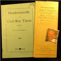 "Civil War Booklet ""Hendersonville in Civil War Times 1860-1863"" by Rev. N. Collin Hughes, D.D. ""As w"