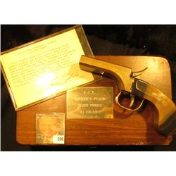 ".41 Caliber Double Barreled Black Powder Pistol in wooden case with brass label, which states ""C.S.A"