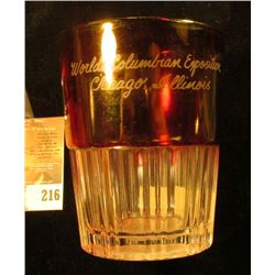 "3 1/2"" Ruby Red Flash Coin Glass ""World's Columbian Exposition Chicago, Illinois"". The base design i"