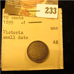 Canada 1899 Small Date Variety 10 Cents. Uncirculated. From the King Farouk Sale. With Original Enve