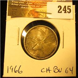 Canada 1966 25 Cents. Choice Toned BU-64.
