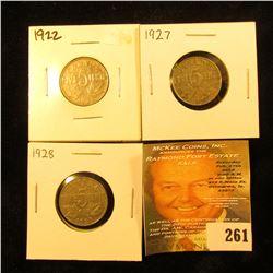 1922, 27, & 28 Canada Nickels. VG-F.