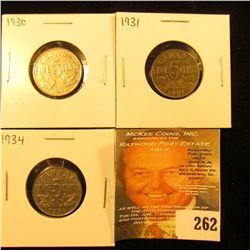 1930, 31, & 34 Canada Nickels. Fine-VF.