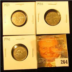 1931 VF, 35 Fine, 40 VF Canada Nickels.