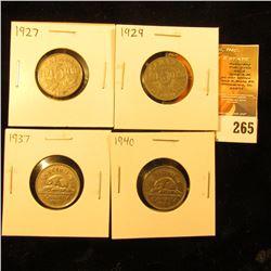 1927, 29, 37, & 40 Canada Nickels. Very Fine-EF.