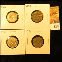 1927, 29, 31, & 36 Canada Nickels. Very Fine-EF.