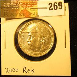 1935 Brazil Silver 2000 Reis. Gem BU.