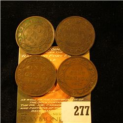 1882H Fine, 1906 VG, 1909 VG, & 1917 Fine Canada Large Cents.