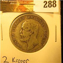 1904 Sweden Silver 2 Kronor, VG.