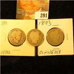 1893 P, 99 P, & 1901P U.S. Barber Quarters.