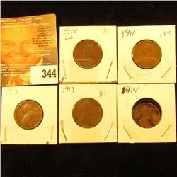 1910, 11, 12, 13, & 14 Lincoln Cents. Good-VG.