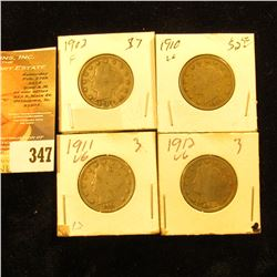 1902, 10, 11, & 12 Liberty Nickels. VG-Fine.