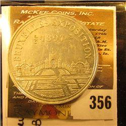1897 Bauxelles Exposition Brussels, Belgium, white metal, 38mm, Calendar Medal. 38 mm.
