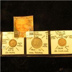 Spanish Silver Coins: 1889 MP-M 50 Cent, VF; 1900 Una Peseta, KM706, EF; & 1904 50 Centimes, KM723,
