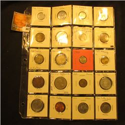 (20) Various Foreign Coins in a plastic page.