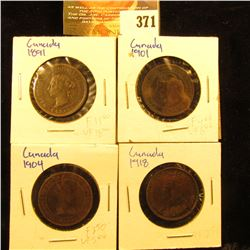 1891, 1901, 1904, & 1918 Canada Large Cents. Fine to EF.