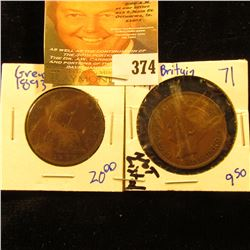 1893 Fine & 1939 Brown Unc Great Britain Large Pennies.