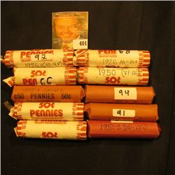 (10) Solid Date Rolls of Lincoln Cents, includes: 1917P, 26 P, 50P, D, 51S, 53D, 55P, D, & (2) 56 D.