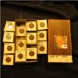"3 1/4"" x 6 1/4"" double row Stock Box full of Lincoln Cents in holders. Coins date 1938-39."