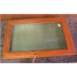 "24"" x 38"" x 3 3/4"" Wooden Display Case. Needs to be picked up locally, quite heavy, and would be har"