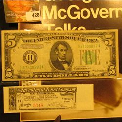 "July 7, 1972 ""LIFE"" with article ""George McGovern Talks""; Series 1934A Five Dollar Federal Reserve N"