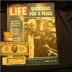 "November 10, 1972 ""LIFE"" with articles ""Questions for a Peace"", ""543 POWs: what shape are they in?"","